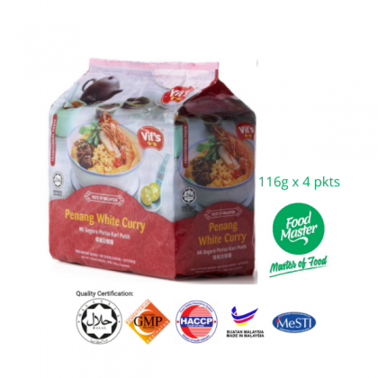 Vit's Penang White Curry Fried Instant Noodle 116g x 4 pkts ( Free Premium Packing )