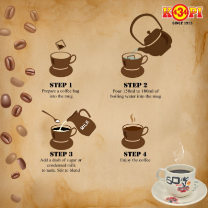 (Must Try!) 434 KOPI-O ( Black Coffee ) 9g x 100 bags With Plastic Jar