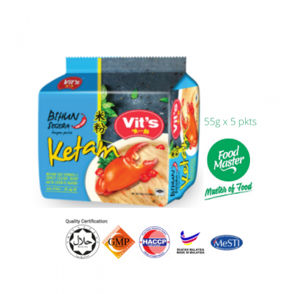 Vit's Instant Vermicelli Noodle Spicy Clear with Crab Flavour 55g x 5pkts ( Free Premium Packing )